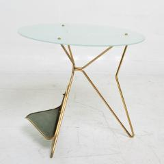 Gio Ponti Gio Ponti Italy Artful Italian Brass Side Table with Green Magazine Holder 1950s - 1603909
