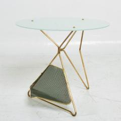 Gio Ponti Gio Ponti Italy Artful Italian Brass Side Table with Green Magazine Holder 1950s - 1603910