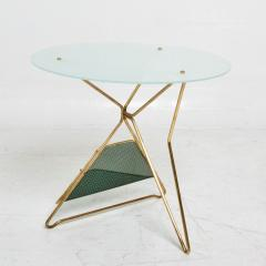 Gio Ponti Gio Ponti Italy Artful Italian Brass Side Table with Green Magazine Holder 1950s - 1603911