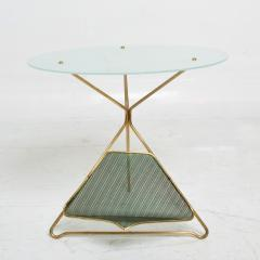Gio Ponti Gio Ponti Italy Artful Italian Brass Side Table with Green Magazine Holder 1950s - 1603912