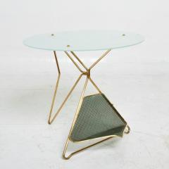 Gio Ponti Gio Ponti Italy Artful Italian Brass Side Table with Green Magazine Holder 1950s - 1603913