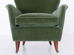 Gio Ponti Gio Ponti Pair of Armchairs in Olive Green Velvet and Walnut Italy 1949 - 1076428