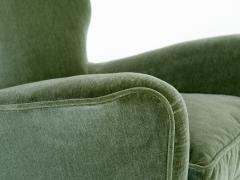 Gio Ponti Gio Ponti Pair of Armchairs in Olive Green Velvet and Walnut Italy 1949 - 1076429