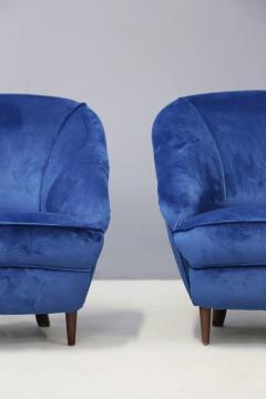 Gio Ponti Gio Ponti Pair of MidCentury armchairs in blue velvet 1930s - 1264754