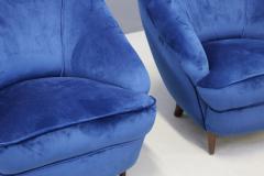 Gio Ponti Gio Ponti Pair of MidCentury armchairs in blue velvet 1930s - 1264758