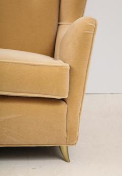 Gio Ponti Gio Ponti Style Italian Wingback Sofa In Mohair Upholstery - 1996702