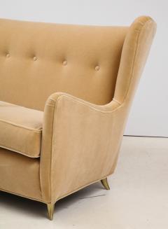 Gio Ponti Gio Ponti Style Italian Wingback Sofa In Mohair Upholstery - 1996703