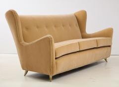 Gio Ponti Gio Ponti Style Italian Wingback Sofa In Mohair Upholstery - 1996710