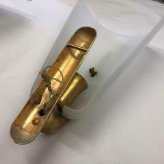 Gio Ponti Gio Ponti Style Mid Century Modern Brass and Glass Wall Sconces - 1020888