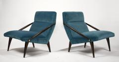 Gio Ponti Gio Ponti Velvet Lounge Chairs in Walnut Brass for M Singer and Sons 1950s - 1939799