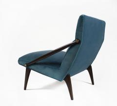 Gio Ponti Gio Ponti Velvet Lounge Chairs in Walnut Brass for M Singer and Sons 1950s - 1939803