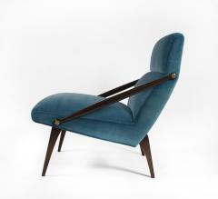 Gio Ponti Gio Ponti Velvet Lounge Chairs in Walnut Brass for M Singer and Sons 1950s - 1939806