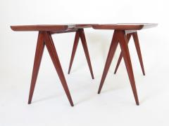 Gio Ponti Gio Ponti Walnut Pair of Side Tables Mirrored Glass Tops Asymmetrical Forms - 1208469
