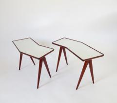 Gio Ponti Gio Ponti Walnut Pair of Side Tables Mirrored Glass Tops Asymmetrical Forms - 1208472