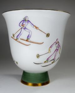 Gio Ponti Gio Ponti for Richard Ginori Vase with Ski Theme - 385489