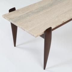 Gio Ponti Gio Ponti For Singer Sons Walnut And Travertine Coffee Table    443379