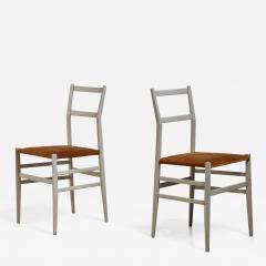 Gio Ponti Gio Ponti pair rare grey Leggera chairs Italy 1950s - 1015284
