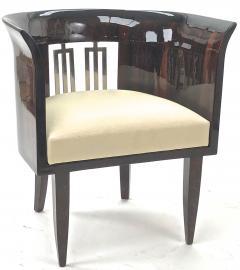 Gio Ponti Gio Ponti rarest art deco pair of arm chair with silver bronze back insert - 903133