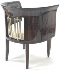 Gio Ponti Gio Ponti rarest art deco pair of arm chair with silver bronze back insert - 903134