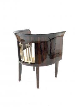 Gio Ponti Gio Ponti rarest art deco pair of arm chair with silver bronze back insert - 903144