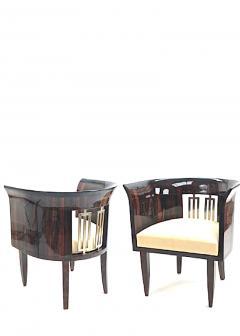 Gio Ponti Gio Ponti rarest art deco pair of arm chair with silver bronze back insert - 903146
