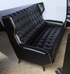 Gio Ponti Italian Modern Black Upholstered Wing Back Sofa Gio Ponti - 528638