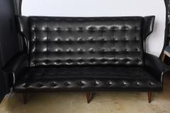 Gio Ponti Italian Modern Black Upholstered Wing Back Sofa Gio Ponti - 528639