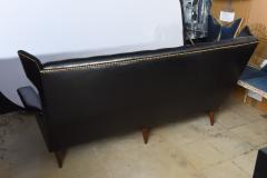 Gio Ponti Italian Modern Black Upholstered Wing Back Sofa Gio Ponti - 528641