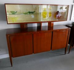 Gio Ponti Italian Modern Walnut Credenza with Display Superstructure Gio Ponti - 912019