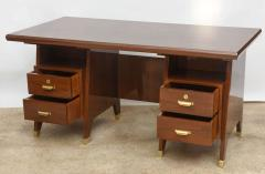 Gio Ponti Italian Modern Walnut and Brass Executive Desk Gio Ponti - 389568