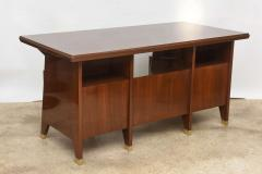 Gio Ponti Italian Modern Walnut and Brass Executive Desk Gio Ponti - 389574