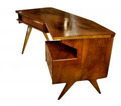 Gio Ponti Italian Modern Walnut and Rootwood Desk attributed to Gio Ponti - 1177853