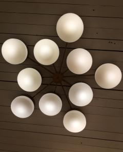 Gio Ponti Large Brass 10 Arm Flush Mount Ceiling Light in the Style of Gio Ponti - 1186340