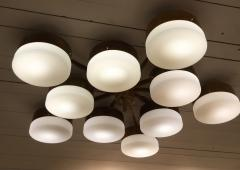 Gio Ponti Large Brass 10 Arm Flush Mount Ceiling Light in the Style of Gio Ponti - 1186341