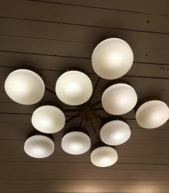Gio Ponti Large Brass 10 Arm Flush Mount Ceiling Light in the Style of Gio Ponti - 1186342