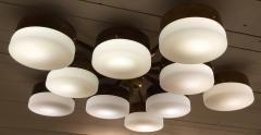 Gio Ponti Large Brass 10 Arm Flush Mount Ceiling Light in the Style of Gio Ponti - 1186343