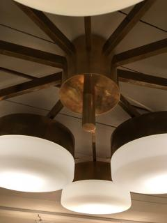 Gio Ponti Large Brass 10 Arm Flush Mount Ceiling Light in the Style of Gio Ponti - 1186344