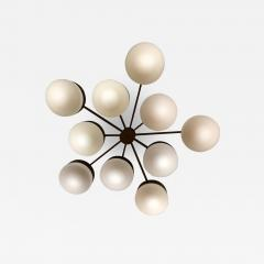 Gio Ponti Large Brass 10 Arm Flush Mount Ceiling Light in the Style of Gio Ponti - 1186796