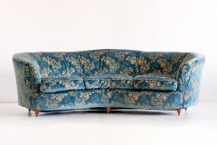 Gio Ponti Large Gio Ponti Attributed Curved Sofa in Original Blue Floral Upholstery 1930s - 823385