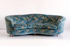 Gio Ponti Large Gio Ponti Attributed Curved Sofa in Original Blue Floral Upholstery 1930s - 823386