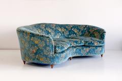 Gio Ponti Large Gio Ponti Attributed Curved Sofa in Original Blue Floral Upholstery 1930s - 823387