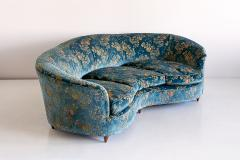 Gio Ponti Large Gio Ponti Attributed Curved Sofa in Original Blue Floral Upholstery 1930s - 823389