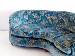 Gio Ponti Large Gio Ponti Attributed Curved Sofa in Original Blue Floral Upholstery 1930s - 823392