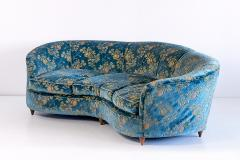 Gio Ponti Large Gio Ponti Attributed Curved Sofa in Original Blue Floral Upholstery 1930s - 823393
