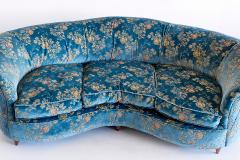 Gio Ponti Large Gio Ponti Attributed Curved Sofa in Original Blue Floral Upholstery 1930s - 823394