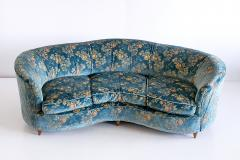 Gio Ponti Large Gio Ponti Attributed Curved Sofa in Original Blue Floral Upholstery 1930s - 823395