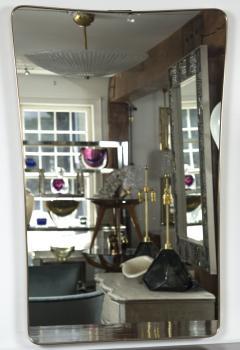 Gio Ponti Large Mid Century Italian Brass Framed Mirror Gio Ponti Style - 1569639