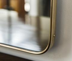 Gio Ponti Large Mid Century Italian Brass Framed Mirror Gio Ponti Style - 1569642