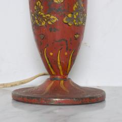 Gio Ponti Lovely Decorative Red Hand Painted Petite Table Lamp Italian Gio Ponti 1950s Era - 1901079
