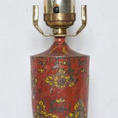 Gio Ponti Lovely Decorative Red Hand Painted Petite Table Lamp Italian Gio Ponti 1950s Era - 1901080